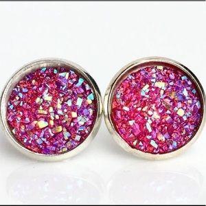 """The Beautiful """"Diana Rosa"""" Druzy Stud Earrings"""